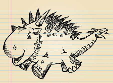 낙서 스케치 귀여운 공룡 벡터