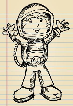 Doodle Sketch Astronaut Vector