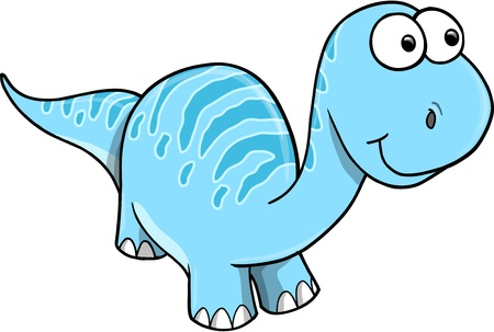 Goofy Silly Blue Dinosaur Vector Illustration Art