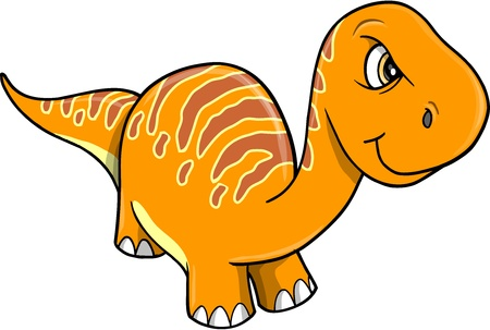 Angry Mad Orange Dinosaur Vector Illustration Art