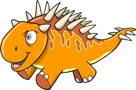 Crazy Insane Orange Dinosaur Vector Illustration Art