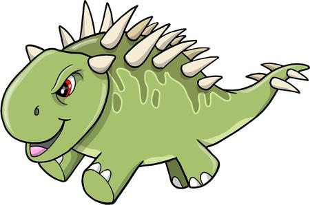 tough: Angry Tough Green Dinosaur Vector Illustration Art Illustration