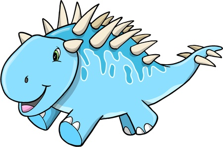 Cute Happy Blue Dinosaur Vector Illustration Art Çizim