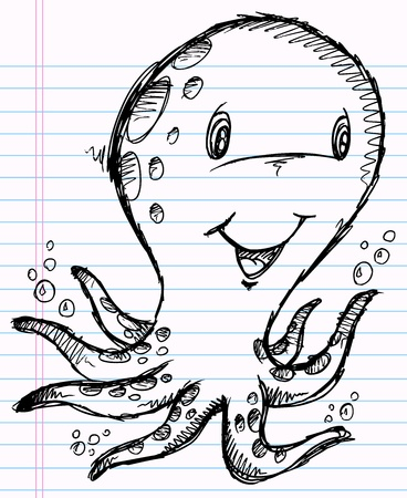 Notebook Doodle Octopus Vector Illustration Art Stock Vector - 12151138