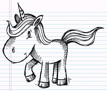 Notebook Doodle Pony Unicorn Vector Illustration Art Stock Vector - 12151135