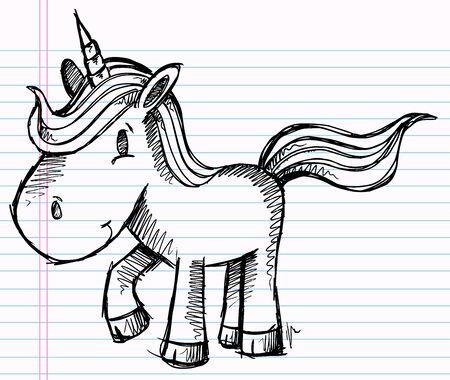 notebook: Notebook Doodle Pony Unicorn Vector Illustration Art Illustration