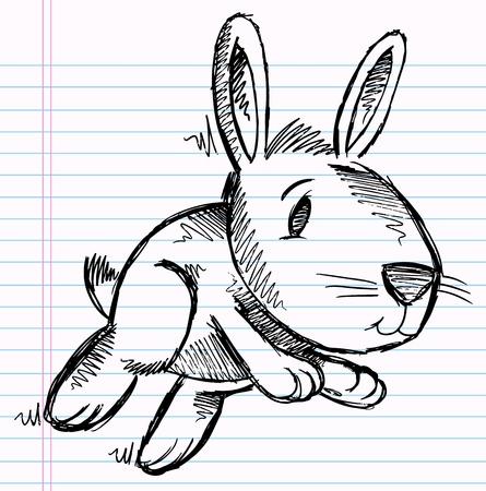 Notebook Doodle Bunny Rabbit Vector Art Stock Illustratie