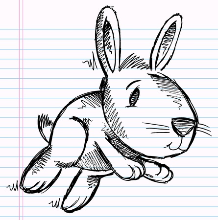 Notebook Doodle Bunny Rabbit Vector Illustration Art