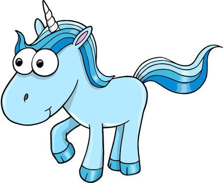 Goofy Blue Unicorn Vector Illustration Vector