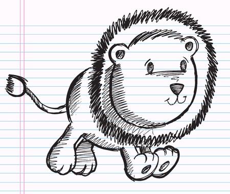 notebook: Notebook Doodle Sketch Lion Cub Vector Illustration Drawing Art