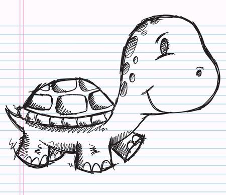 Notebook Doodle Sketch Turtle Vector Drawing Art