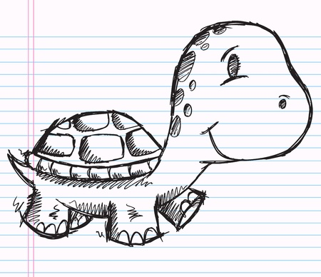 Notebook Doodle Sketch Turtle  Vector Illustration Drawing Art
