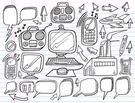 notebook: Notebook Doodle Electronics Work Business Design Elements Vector Set