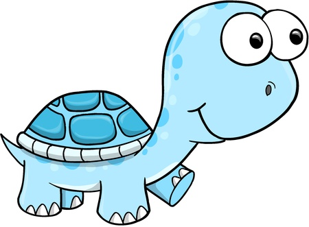 Blue Silly Turtle Vector Illustration Art Ilustracja