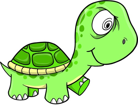 Toxic Crazy Green Turtle Vector Illustration Art Çizim
