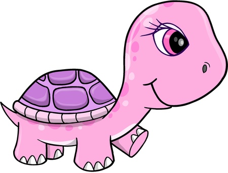 Cute Pink Girl Turtle Vector Illustration Art