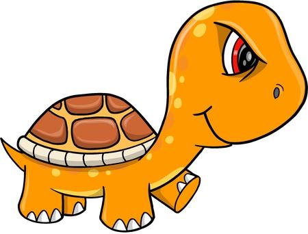 Angry Mad Orange Turtle Vector Illustration Art