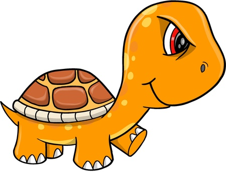 Angry Mad Orange Turtle Vector Illustration Art