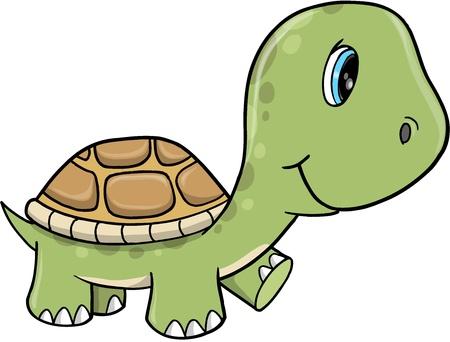 tortuga caricatura: Vector lindo tortuga Ilustración Arte Vectores