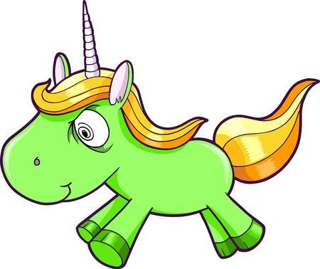 Toxic Crazy Green Unicorn Animal Vector Illustration Art