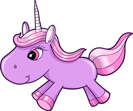 pretty Purple Unicorn Animal Vector Illustration Art Ilustracja