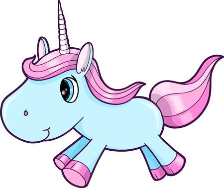 Cute Blue Unicorn Animal Vector Illustration Art Vector
