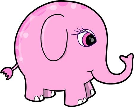 Cute Pink Girl Elephant Animal Vector Illustration Art Vector