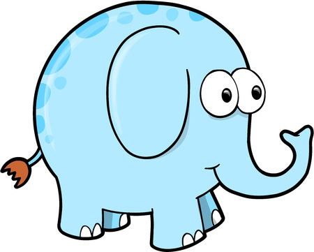 Silly Goofy Elephant Animal Vector Illustration Art