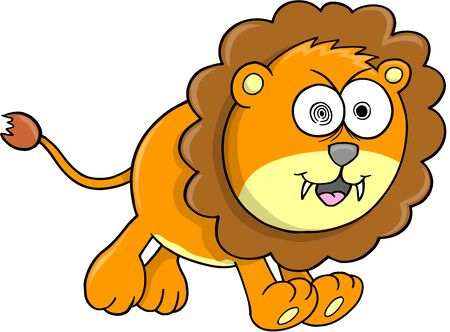 Crazy Orange Lion Animal Safari Wildlife Vector Illustration Art Vector