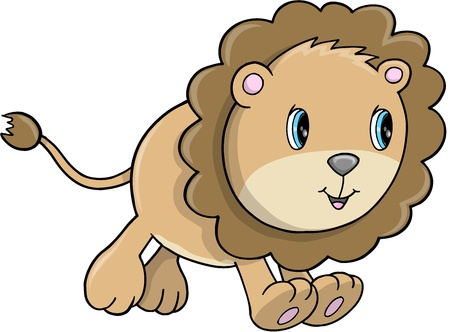 lion vector: Cute Lion Cub Animal Safari Wildlife Vector Illustration Art