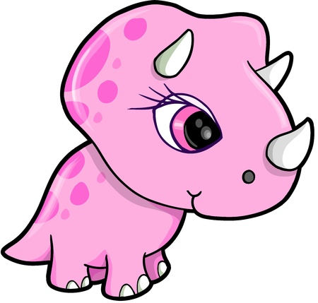 Cute Pink Triceratops Dinosaur Vector Illustration  Çizim