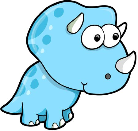 Silly Goofy Blue Triceratops Dinosaur Vector Illustration