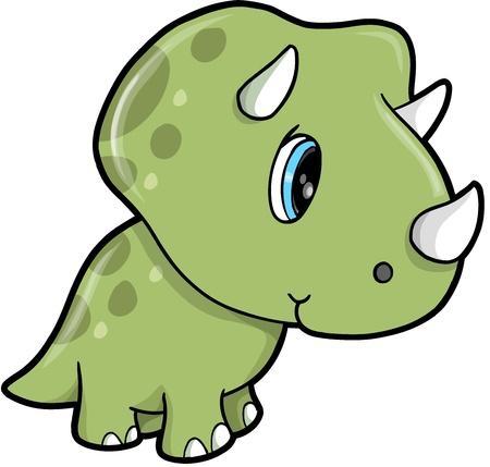 귀여운 녹색 트리케라톱스 공룡 벡터 일러스트 레이 션