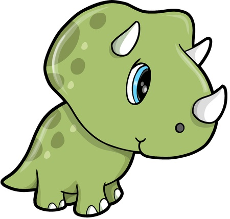 triceratops: Cute Green Triceratops Dinosaur Vector Illustration