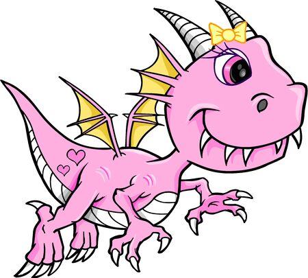 Leuk Roze Meisje Dragon Vector Animal Illustratie Art Stock Illustratie