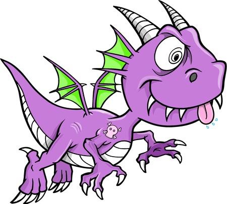 flying dragon: Crazy Purple Dragon Vector Animal  Illustration Art