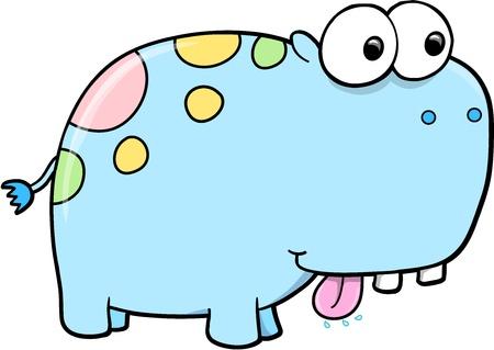Goofy Silly Blue Hippopotamus Vector Safari Animal Illustration Art