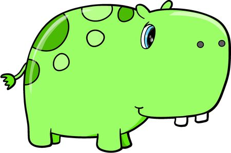Cute Green Hippopotamus Vector Safari Animal Illustration Art