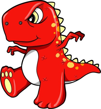 Angry Mean Red Dinosaur T-Rex Vector Illustration Art