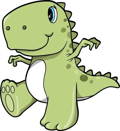 Cute Green Dinosaur T-Rex Vector Illustration Art