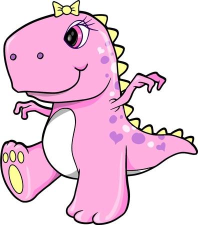 Cute Pink Girl Dinosaur T-Rex Vector Illustration Art  イラスト・ベクター素材