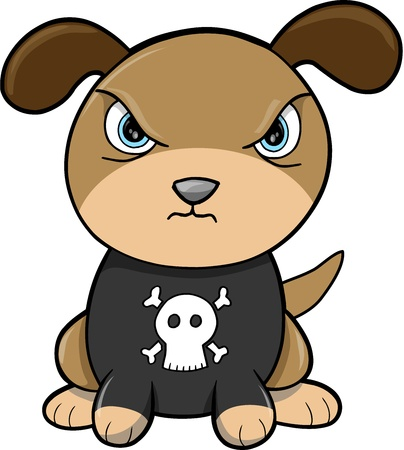 Tough Puppy Dog Animal Vector Illustration Art Illustration