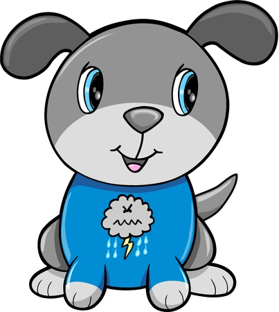 Happy Puppy Dog Animal Vector Illustration Art Ilustração