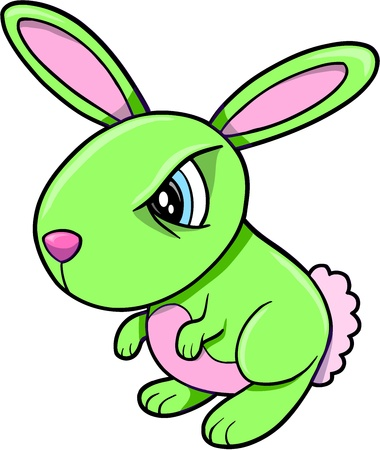 Toxic Angry Green Bunny Rabbit Animal Vector Illustration Art