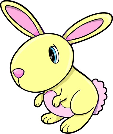 Cute Geel Bunny Rabbit Animal Vector Art Stock Illustratie