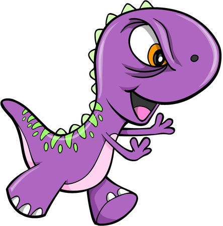 mean: Evil Purple Dinosaur Animal Vector Illustration Art