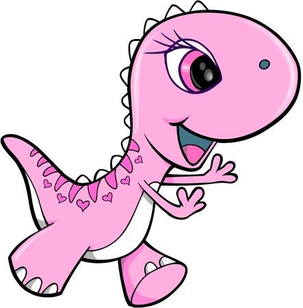 dinosauro: Pink Girl Dinosaur Animal Art Vector Illustration