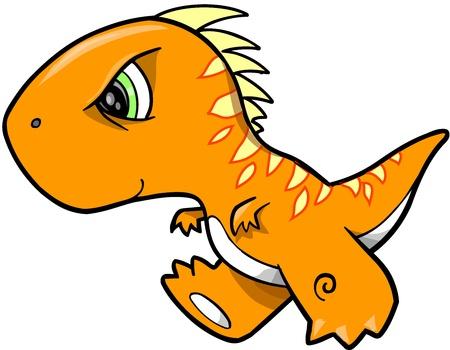 Dino: Angry Orange Dinosaur Vector Illustration Art