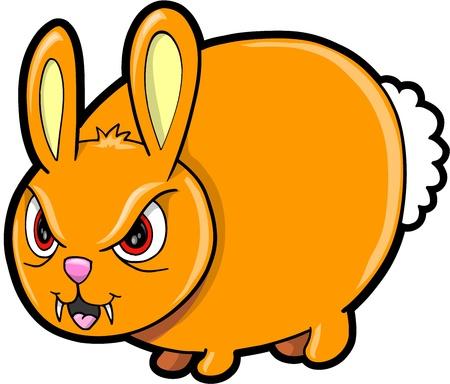 Nasty Mean Bunny Rabbit Animal Vector Illustration Art Vector