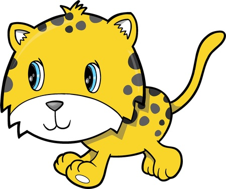 Cute Happy Leopard Animal Vector Illustration Art Vector